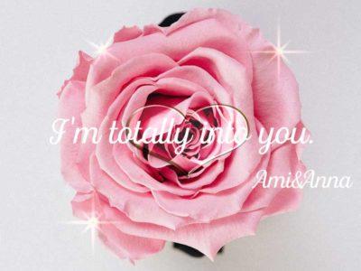 ピンクのバラの花とクリスタルなハートの合成画像