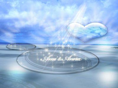 砂地に大きな水たまりがあり、そこに空から光がさしているグラフィック画像