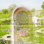 トルコの美しい緑の景色の中央に扉のグラフィック画像