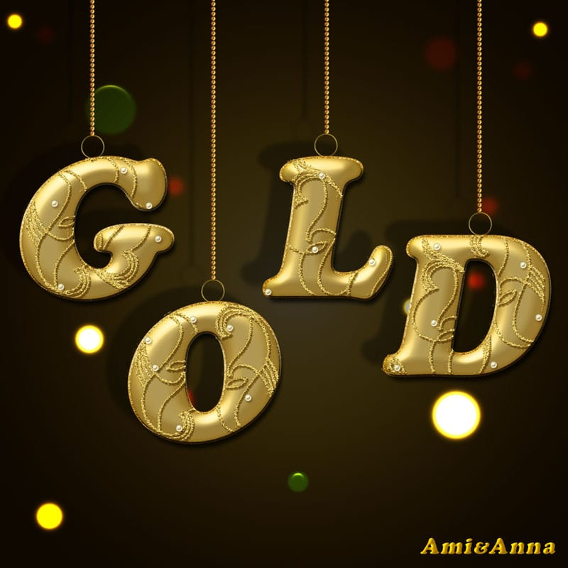 GOLDと書いた金色のテキストエフェクト