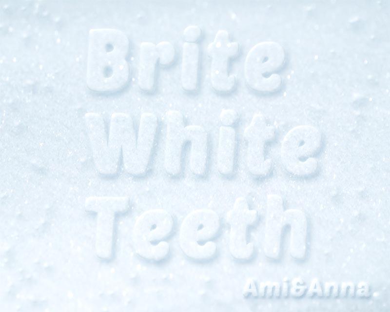 雪の上にBrite White Teethと書いたテキストエフェクト