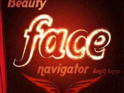 Beauty face navigatorと書いたキラキラ光るテキストエフェクト