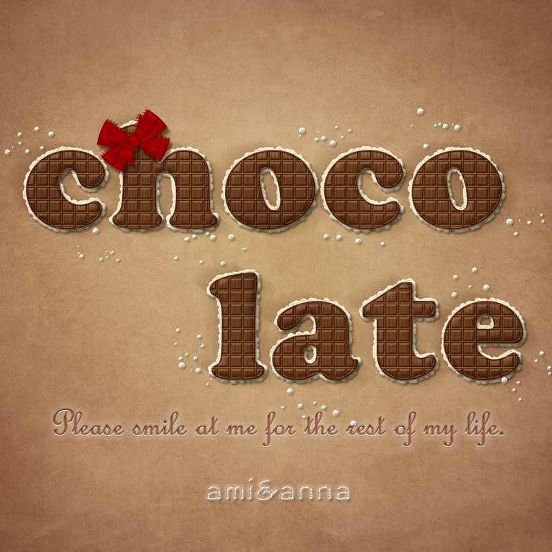 chocolateと書いた板チョコ風のテキストエフェクト
