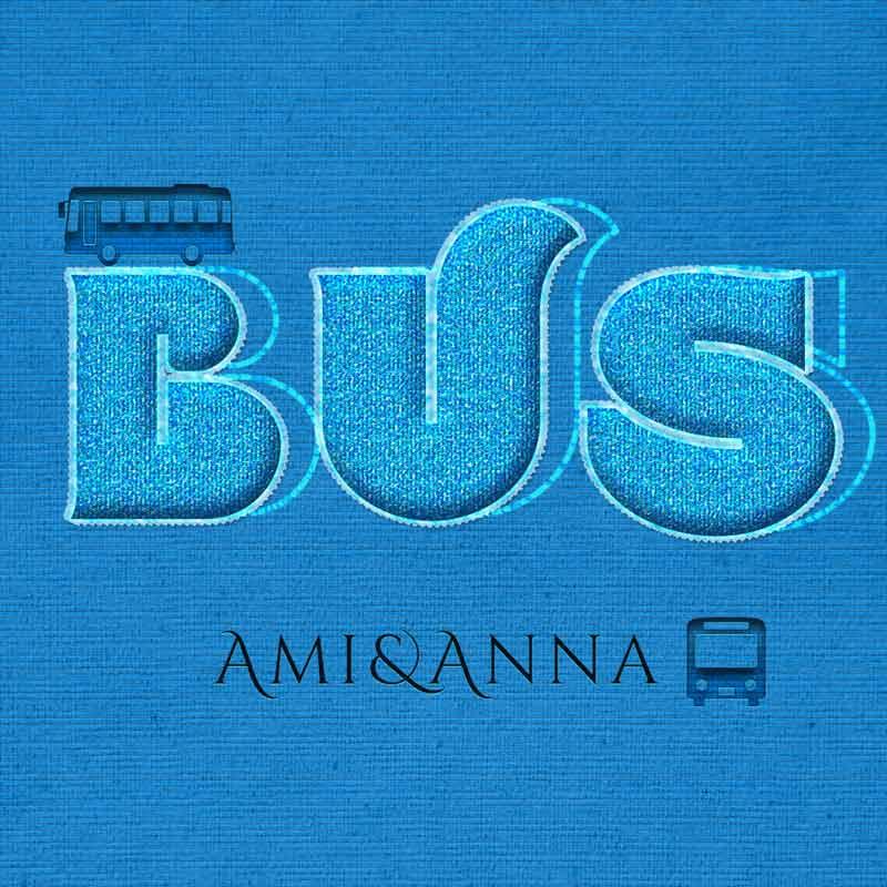 BUSと書いたブルーの布地のテキストエフェクト