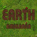 EARTHと書いた土と芝生のテキストエフェクト