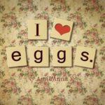 eggと木のカードに書いたテキストエフェクト