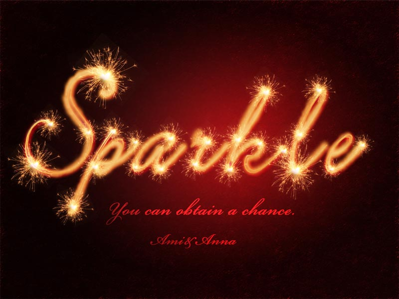 花火の火花を散らしsparkleと書いたテキストエフェクト