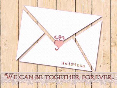 木製の白いテーブルにAmi&Annaから送られた手紙が置いてあるグラフィック画像