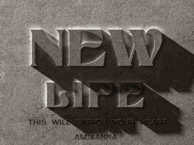 NewLifeと書いた石のテキストエフェクト