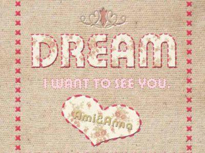 Dreamと書いた布地に刺繍のテキストエフェクト