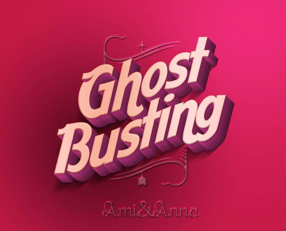 Ghost Busting と書いたピンクのテキストエフェクト