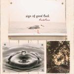 カモメと水滴と岩の3枚のポスターを壁に張った合成画像