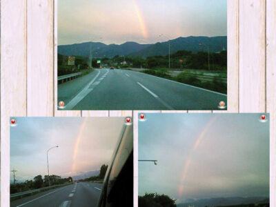 長野県諏訪大社参拝後に高速道路で3連続出現した虹