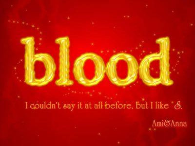 bloodと書いた黄色のテキストエフェクト