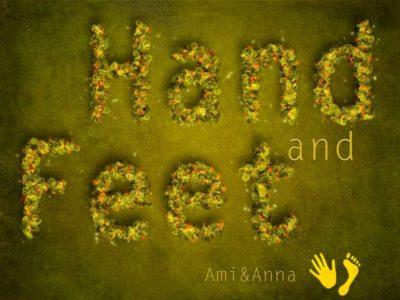 グリーンの葉と薔薇でHandandFeetと書いたテキストエフェクト