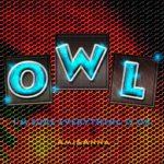 OWLと書いた光るブルーのテキストエフェクト