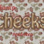plump cheeksと書いた革風のテキストエフェクト