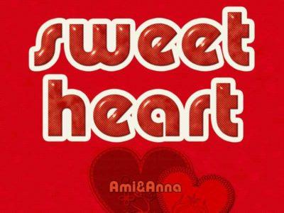 sweet heartと書いたハートと赤色のテキストエフェクト