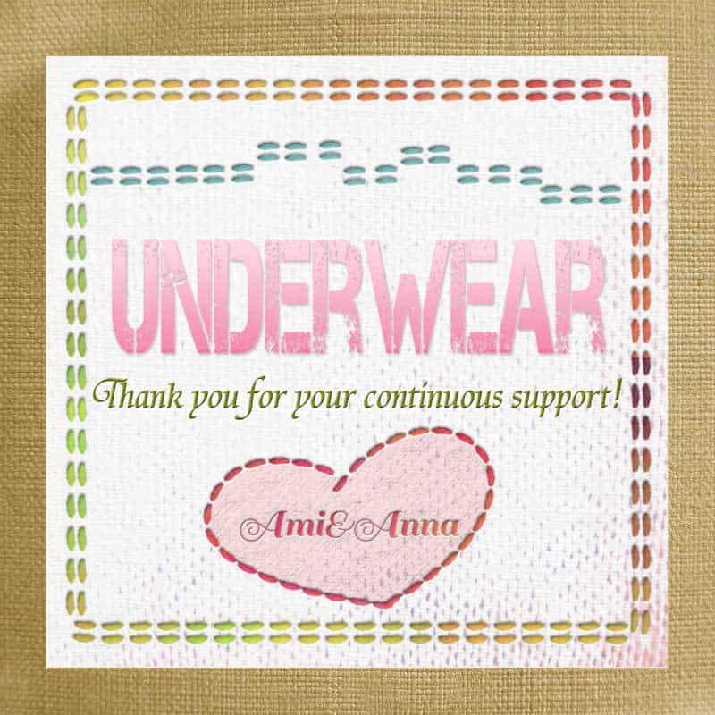 パッチワーク風のグラフィック画像にUnderwearと書いたピンクのテキストエフェクト