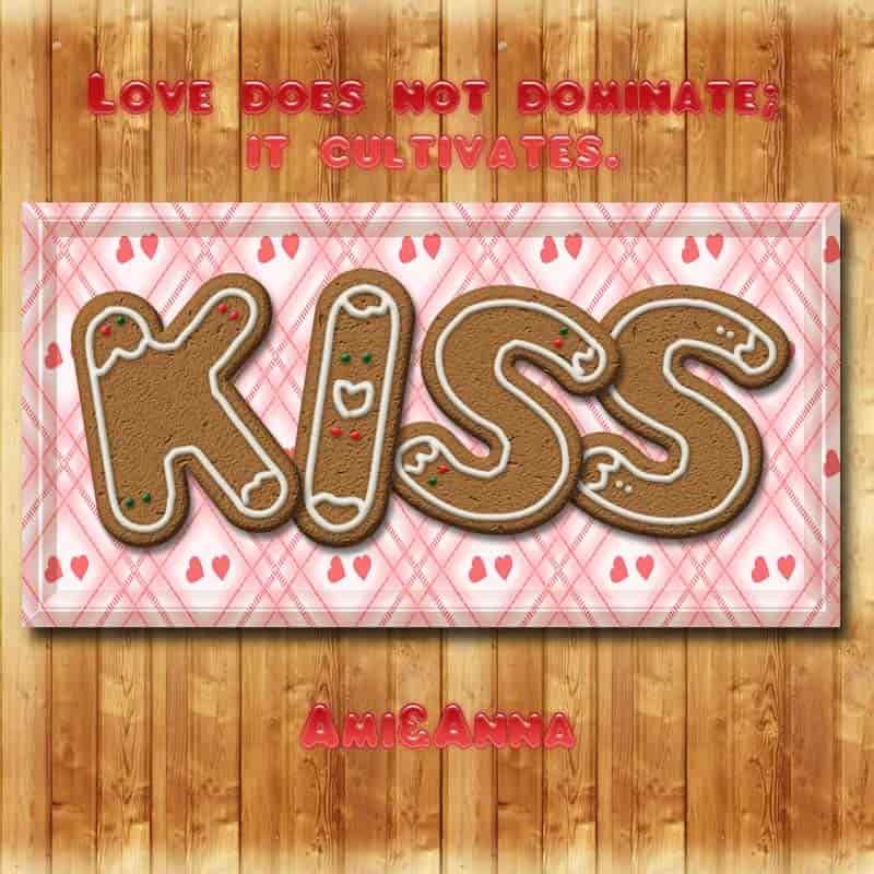 Kissと書いたクッキー風のテキストエフェクト