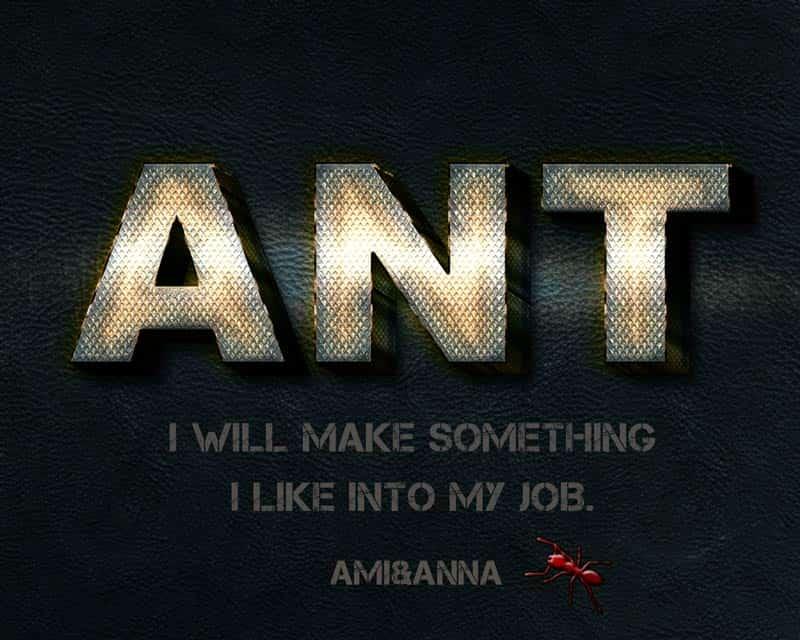 ANTと書いた立体的な鉄のテキストエフェクト
