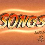 SONGSと書いたオレンジ色のグラデーションのテキストエフェクト