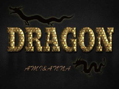 DRAGONと書いた龍のうろこ風テキストエフェクト