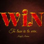 WINと書いた錆びた赤色の金属のテキストエフェクト
