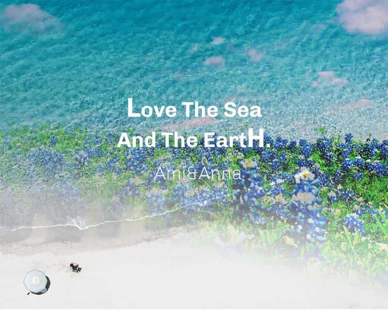海岸と紫の花の合成画像