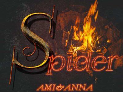 炎の背景とSpiderと書いた鉄のテクストエフェクト