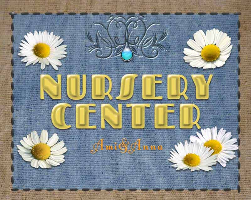 白いカモミールとNURSERY CENTERと書いた黄色のテキストエフェクト