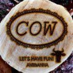 COWと丸太に焼印を押したようなテキストエフェクト