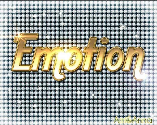 背景がダイアモンドでEmotionと書いた金色のテキストエフェクト