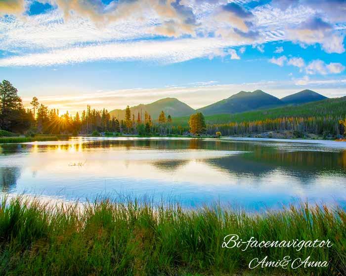 湖の日の入り
