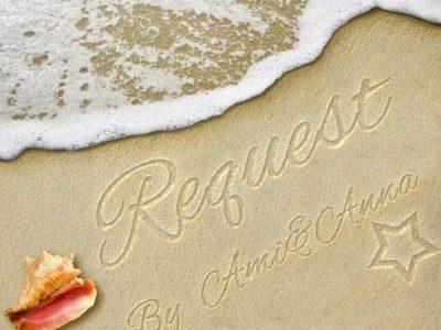 砂浜にRequestと書いたテキストエフェクト