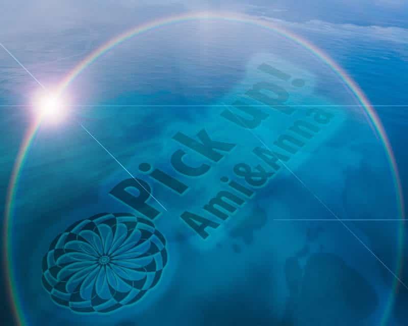 丸い虹とpick upと海面に書いているテキストエフェクト