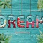 DREAMと書いた透明の容器に花が入ったテキストエフェクト