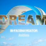 パラシュートが背景でDREAMと書いた滝と虹の画像のテキストエフェクト