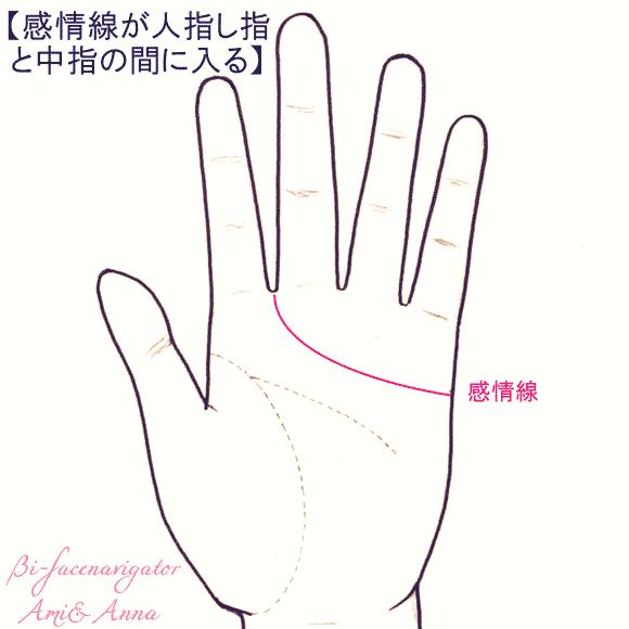 感情線が中指と人差し指の下に入る