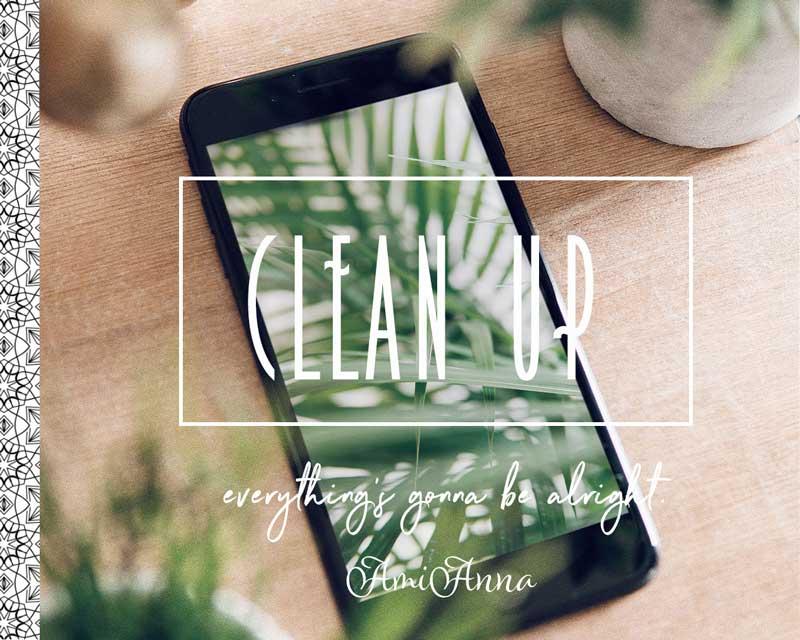 携帯に写っている緑の葉