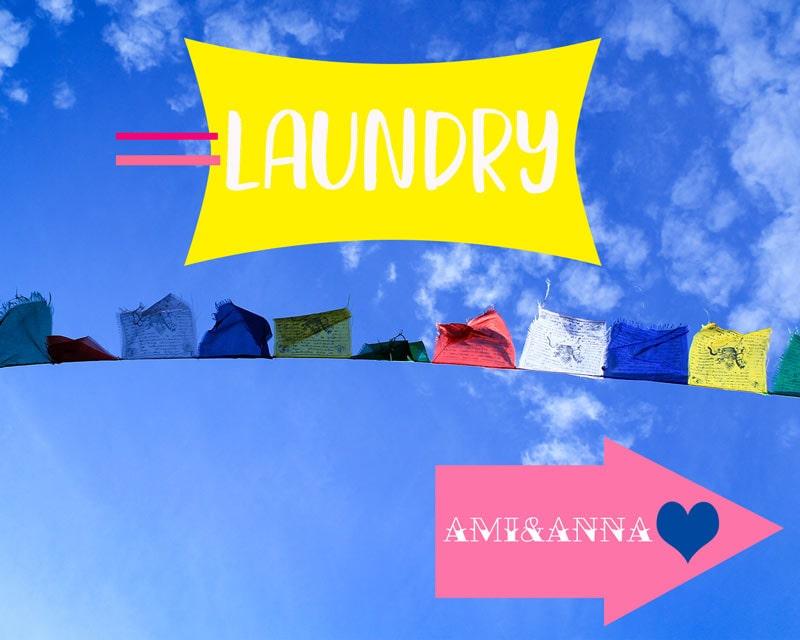 青空に干してある洗濯物