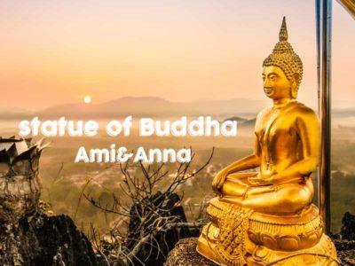 金色の仏像と夕日