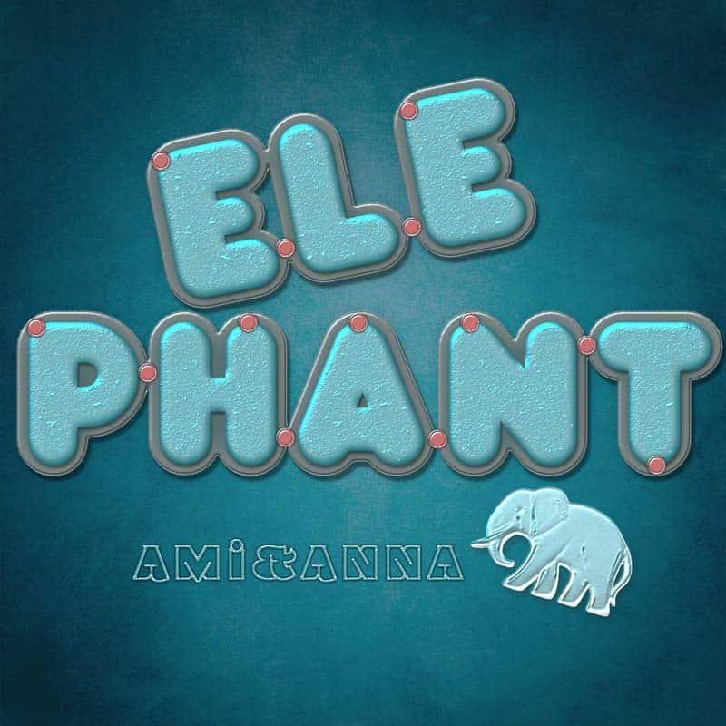 elephantと書いたブルーのテキストエフェクト