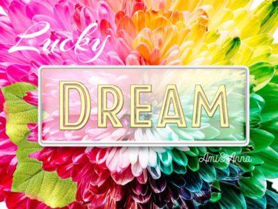 虹色の花びらとDREAMのテキストエフェクト