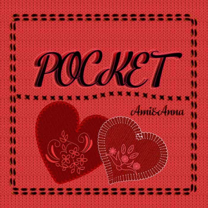 ポケットのグラフィック画像にpocketと書いた黒いテキストエフェクト