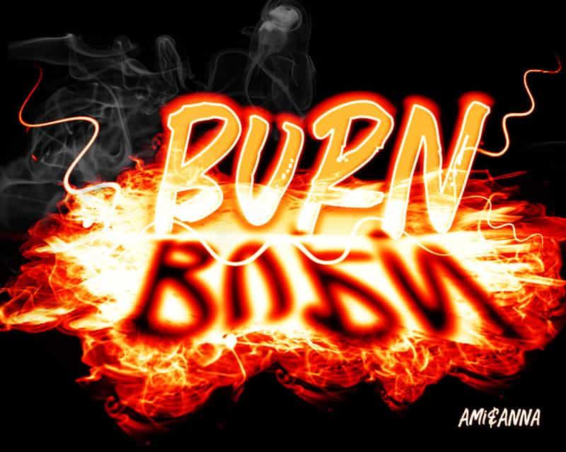 BURNと書いた炎のテキストエフェクト
