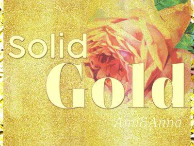 ピンクのバラとsolid goldのテキストエフェクト