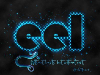 eelと書いた輝く水玉のテキストエフェクト