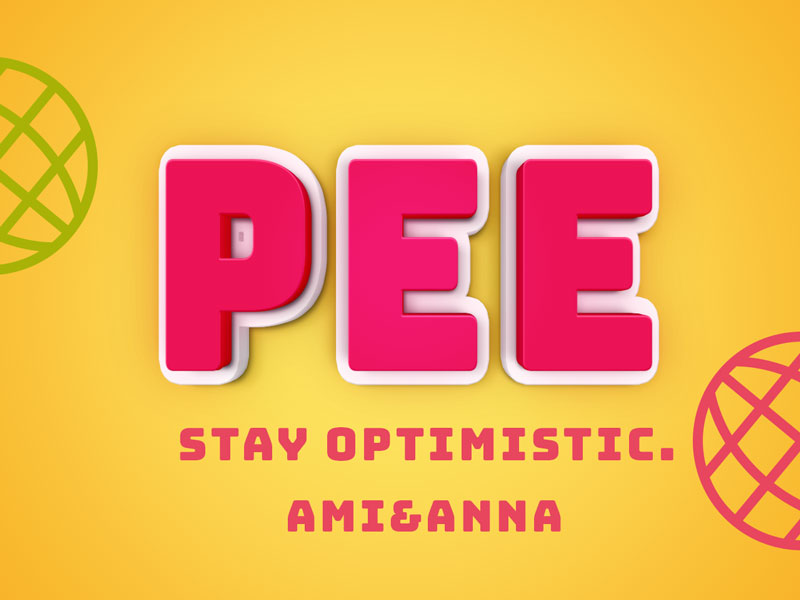 PEEと書いたピンクの立体的なテキストエフェクト