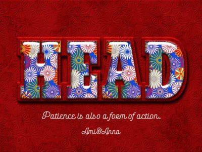 HEADと書いている菊の模様のテキストエフェクト